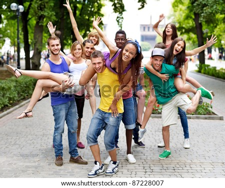 Multi-ethnic group of people outdoors.