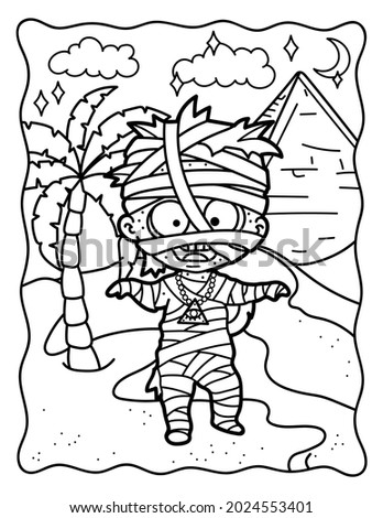 Mummy. Cute mummy in Egypt. Coloring book for Halloween. Coloring book for children and adults. Spooky coloring. Halloween. Stock fotó ©