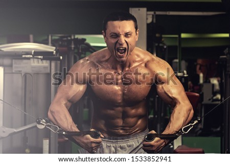 muscular bodybuilder doing exercise on bars in the gym. a handsome, sporty, sexy guy with a abs training in the gym. fitness, bodybuilding, nutrition, healthy lifestyle
