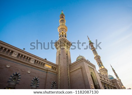 Nabawi Mosque, the prophet's Muhammad mosque, a mosque with great architecture. Pilgrims during hajj and umra visit this mosque.