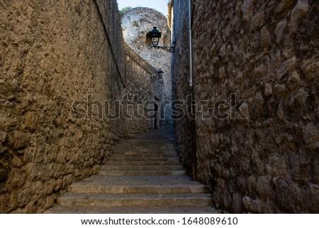 Narrow lane in the barrel of the city of Girona, Catolonia, Spain
