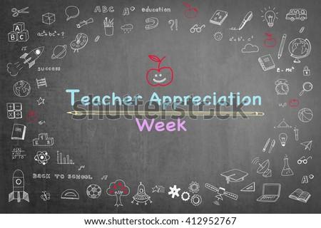 National teacher appreciation week on black chalkboard with cute doodle