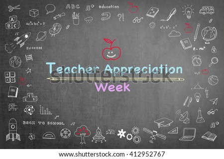 National teacher appreciation week text message on black chalkboard background wi/ cute doodle freehand sketch chalk drawing icon: Student\'s greeting for school lecturer academia: Happy teacher\'s day