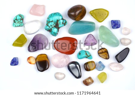 Natural and colorful gem stones on white background. #1171964641