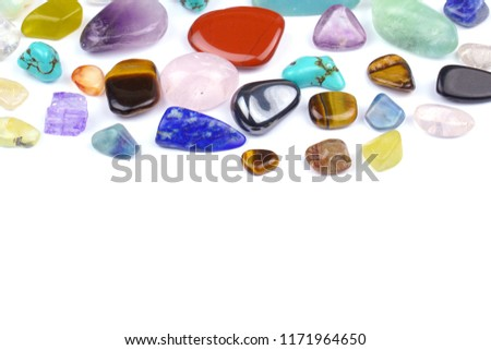 Natural and colorful gem stones on white background. #1171964650