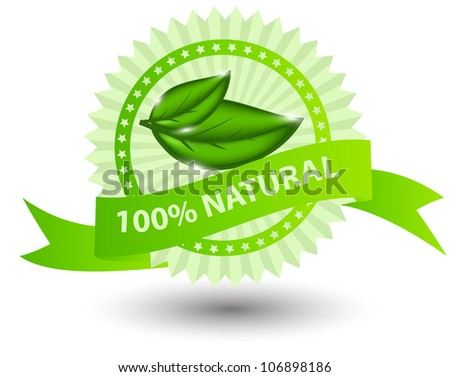 100% natural green label isolated on white. illustration Raster version