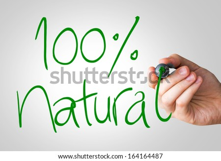 100% Natural hand writing with a green mark on a transparent board