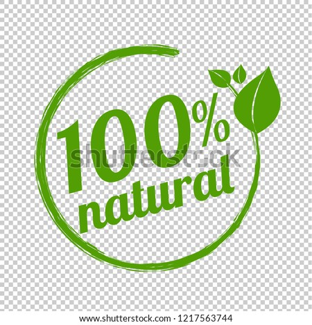 100% Natural Logo Symbol Transparent Background