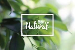 100%  natural with green leaf design
