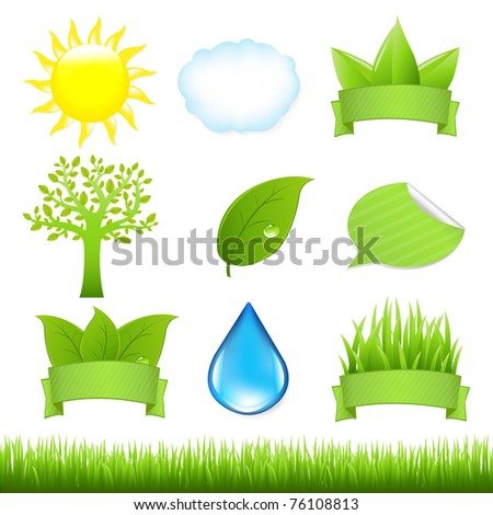 9 Nature Icons And Grass, Isolated On White Background
