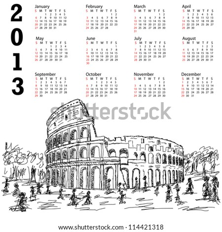 2013 ncalendar with hand drawn illustration of famous ancient tourist destination the colosseum of Rome Italy.