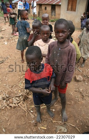 2nd November 2008. Refugees cross from DR Congo into Uganda at the border village of Busanza. - stock photo
