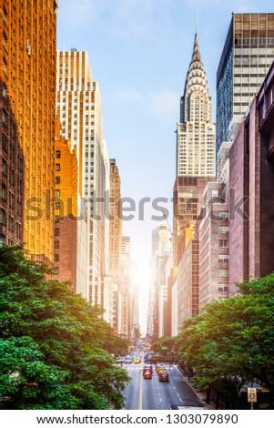42nd street, Manhattan viewed from Tudor City Overpass New York City during sunny summer daytime at sunset Stock fotó ©