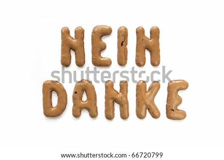"""Nein danke"" (No thanks) isolated on white"