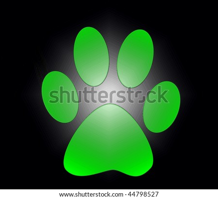 neon green paw print isolated on black