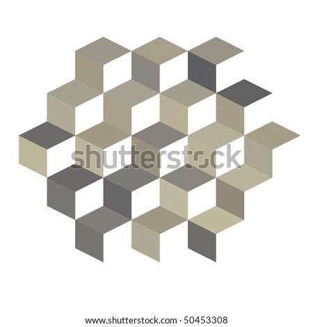 Neutral 3D cubes on white background (tan, brown, beige and gray)