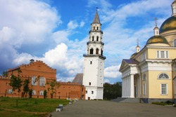 Nevyansk's Leaning Tower and the church, Russia. Built in the 18th century, The height is 57.5 metres. Deviationfrom the vertical - about 1.85 metres