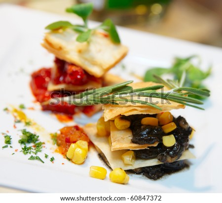 """""""New style"""" mexican cuisine dish on porcelain plate - stock photo"""
