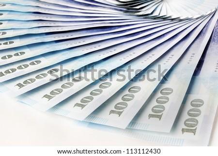 1000 New Taiwan Dollar bill on white  background