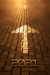 2021 New year and arrow on the road background. Forward New Year concept with arrow and 2021 number at sunset. Concept of planning, business, strategy, opportunity, goals, career and change