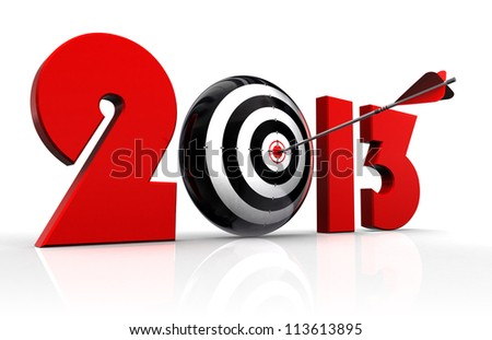 2013 new year and conceptual target with arrow in white background. clipping path included
