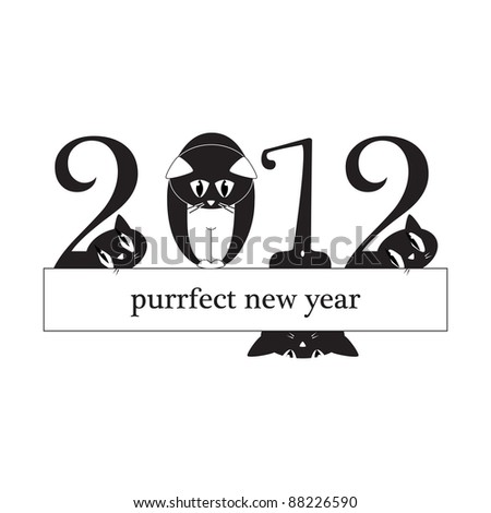 2012 New Year Card - cats instead of digits - original funny illustration - raster version of vector ID 87701542
