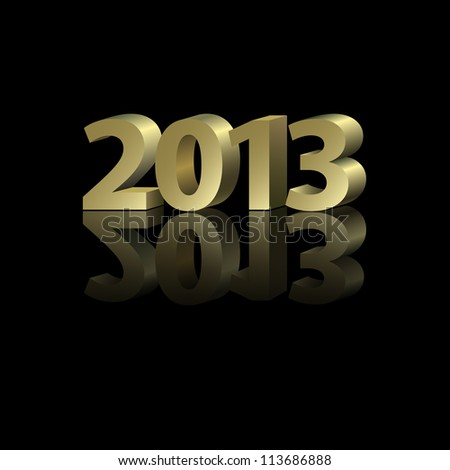 2013 New Year Card with golden elements in abstract style, raster version