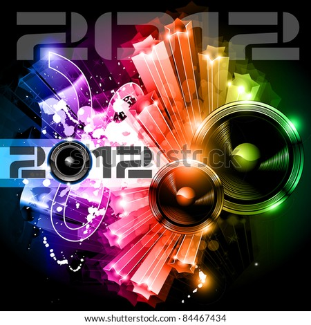 2012 New Year celebration background for music night disco Flyer or poster with a speaker elements and rainbow colours.