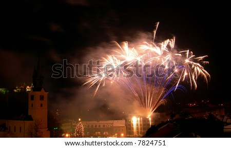 New year celebration with fireworks in the centre of town