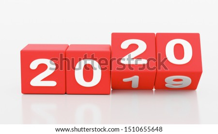 2020 New year change, turn. 2020 start 2019 end, dice isolated against white background. 3d illustration