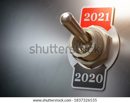 2021 new year change. Vintage switch toggle with numbers 2020 and 2021. 3d illustration Stock photo ©