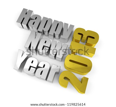 2013 New year concept. Metal text isolated on white.