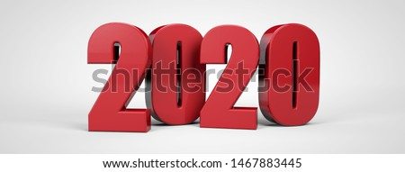 2020 new year 3d red metallic text 3d render