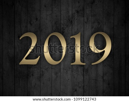 New Year 2019 - 3D Rendered Image  #1099122743
