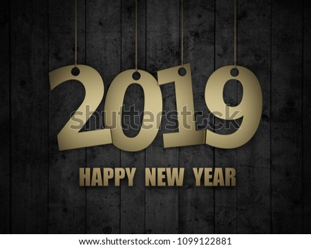 New Year 2019 - 3D Rendered Image  #1099122881