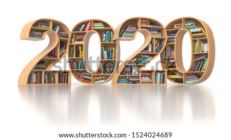 2020 new year education concept. Bookshelvs with books in the form of text 2020. 3d illustration