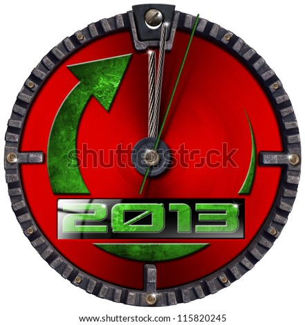 2013 New Year Grunge Clock / Metal grunge clock - concept new year 2013 on white background