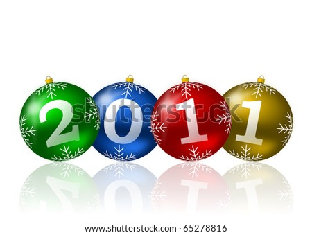 2011 new year illustration with christmas balls