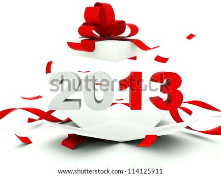 2013 New Year inside the present - stock photo