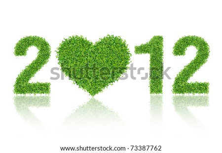 2012 New Year Made of grass material. consists of grass heart.