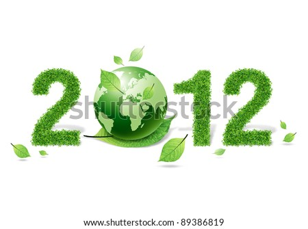 2012 New year made of grass material. consists of  world and green leaf