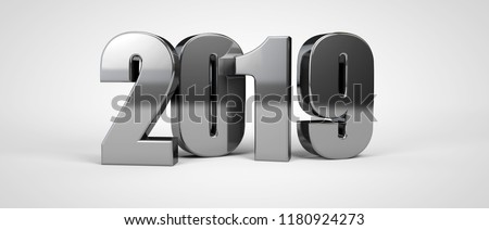 2019 new year metal text isolated on white. 3d render