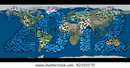 2012 new year modeled with multidimensional blocks over the world image