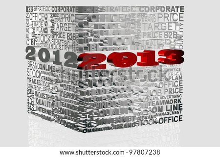 2013 new year modeled with tridimensional numbers in a cube