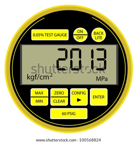 2013 New Year modern digital gas manometer isolated on white background