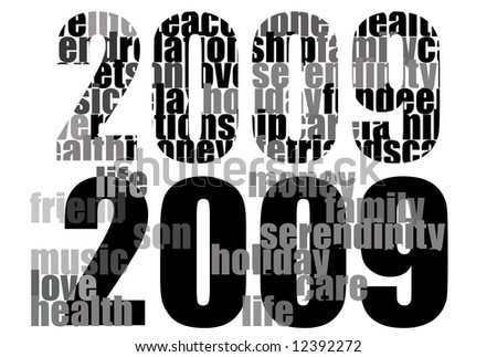 2009 new year numbers for every use : different version - black and white set