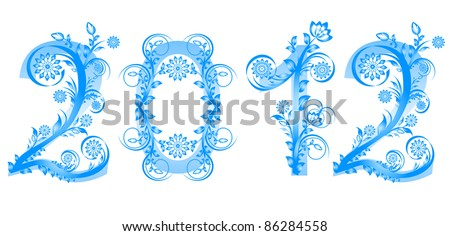 2012 new year numbers made with floral ornament. Raster version