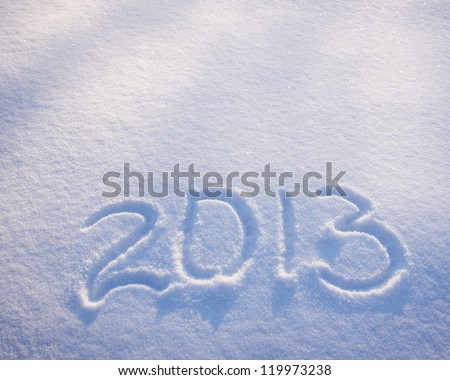 2013  New Year numbers on the snow - stock photo