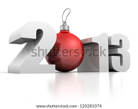 2013 new year numbers with red christmas fur-tree ball