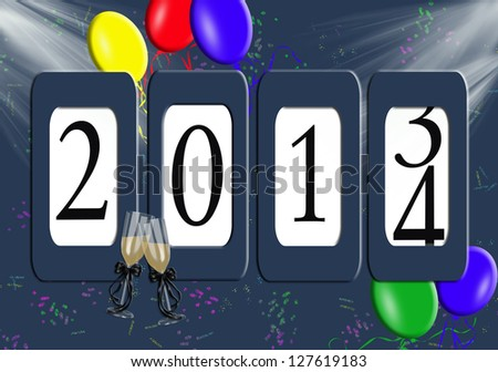 2014 New year odometer with balloons and confetti